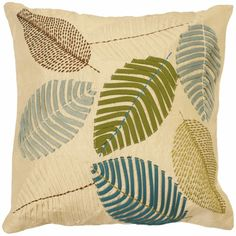 CAPA ALMOFADA BORDADA LEAVES                                                                                                                                                                                 Mais Sewing Pillows, Diy Pillows, Decorative Pillows, Throw Pillows, Cushions, Butterfly Embroidery, Ribbon Embroidery, Embroidery Stitches, Cushion Cover Inspiration