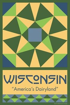 WISCONSIN quilt block. Ready to sew. Single 4x6 block $4.95.