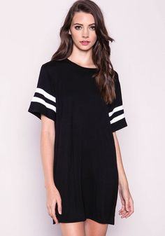 Black Varsity Shirt DressBlack Varsity Shirt Dress, BLACK