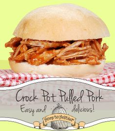 Super easy crock pot recipe for pulled pork.  Make a big batch and use it in your recipes all week long!