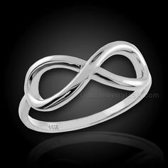 Polished White Gold Infinity Ring | Gold Jewelry USA