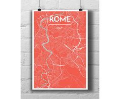 Rome Italy  City Map Print by PointTwoMaps on Etsy