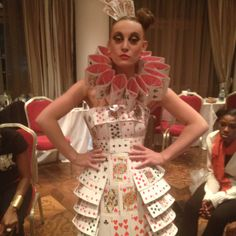 Backstage at Aleah Leigh #LFW show. One of the dresses constructed entirely of playing cards!