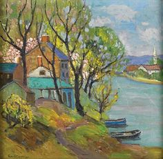 """""""Spring on the Delaware,"""" Fern Coppedge, oil on canvas, 16 x 16"""", private collection."""