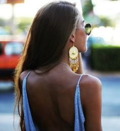 Open back, big earrings and some aviators are perfect for summer vacation:)