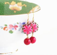 Pink Earrings Flower Earrings Shocking Pink by JacarandaDesigns