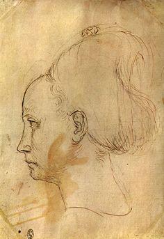 Pisanello, disegni, louvre 2342 v. Studio della testa, l'affresco di San Giorgio e la principessa di Pisanello si trova nella chiesa di Santa Anastasia a Verona.