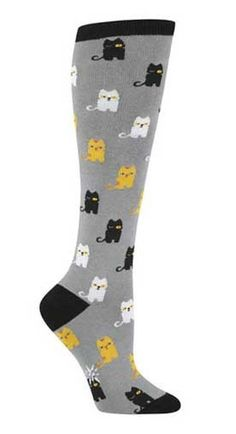 Pair these cat socks with brown calf boot and knee -length skirt. -C