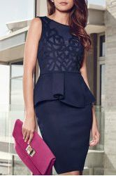 Attractive Backless Gauze Spliced Waist Flounce Solid Color Bodycon Dress For Women