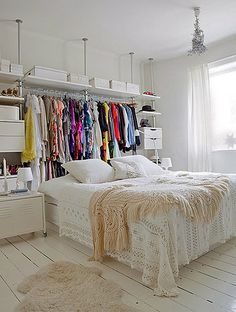 small closet solution, colorful touch in a white room