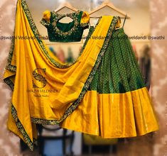 croptop for lehengas Pure Kanjeevaram Lehenga with hand embroidery work. call/Watsapp for similar designs for details Wedding Saree Blouse Designs, Half Saree Designs, Silk Saree Blouse Designs, Choli Designs, Fancy Blouse Designs, Lehenga Saree Design, Half Saree Lehenga, Lehnga Dress, Lehenga Designs