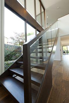 Modern stair simple basic glass balustrade home time design Brisbane, Melbourne, Basement Staircase, House Stairs, Balustrades, Glass Balustrade, Modern Stairs, Modern Loft, Railing Design