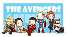 """Marvel's Avengers ~~! Chibi Avengers Assemble! ~~ This is one of my favourite pics! ! I dunno why but... Please Tony in his """"Draw me like one of your French girls"""" is one of the best things I've ev..."""