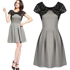 $25.00 | Fashion short-sleeved lace dress KMS16SB