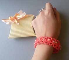 FREE SHIPPING Salmon crochet bracelet by MagicalIIDecorations