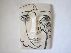 Black and white tile face sculpture, ceramic wall art, Parisian wall mask, Picasso neo-classical style from Louise Fulton Studio Black And White Face, Black And White Tiles, Ceramic Wall Art, Ceramic Clay, Porcelain Ceramics, Painted Porcelain, China Porcelain, Dove And Olive, Sculptures Céramiques