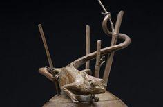 Bronze Wild Animals and Wild Life sculpture by artist Francois Viljoen titled: 'Bamboo Visitor (bronze Chameleon Hunting sculpture statue statuette)'