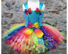 Lined Sparkly White & Rainbow Birthday Party Gala Outfit With Shoulder Sash, Flowers and Heart Detailing. Unicorn Dress, Unicorn Costume, Unicorn Horn Headband, Rainbow Tutu, How To Make Tutu, Rainbow Birthday Party, Gala Dresses, Handmade Dresses, Costumes