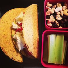 #getREAL lunch: tacos w/ grass-fed beef, Romaine, tomatoes, avocado, Kalona sour cream, Oliver Farms raw cheese & sides of cashew/raisins and celery