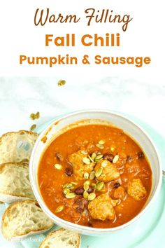Make a big batch of Healthy Chili for this fall. Pumpkin and turkey sausage. Your family will love delicious pumpkin chili with turkey sausage. You will love all the vegetable goodness packed in the pumpkin and the kidney beans. Simple to put together, and quick to cook you will have dinner on the table in no time. Pumpkin Chili, Best Pumpkin, Fall Dinner Recipes, Dinner Recipes Easy Quick, Recipes For Soups And Stews, Soup Recipes, Healthy Chili, Turkey Sausage, Kidney Beans