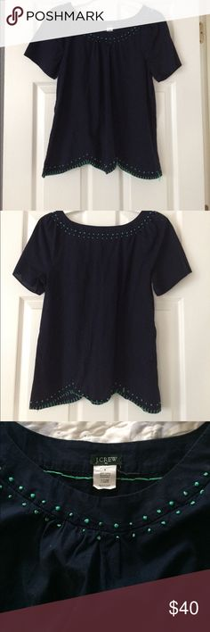 J Crew scalloped top Amazing with white pants. Perfect but NOT new.  NOT crop top.  Great basic office and casual item.  Just cleaning my closet.  Discount on bundles.  No trades. Please use offer option to negotiate price and not comments. J. Crew Tops