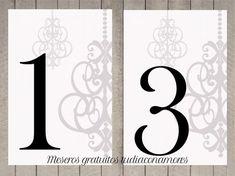 Números de mesa imprimibles gratuitos. 20 meseros para imprimir y descargar gratis. Identificadores de mesa modernos, elegante y chic de Tu día Con Amor.