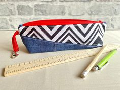 Stationery Items, Pencil Cases, Old Jeans, Fabric Remnants, Zig Zag, Uk Shop, Pouches, You Nailed It, Blue Denim