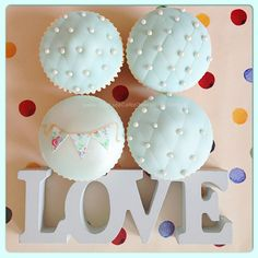 Cupcake Love! Miniature bunting and quilted cupcakes ~ Perfect for 'Something Blue'