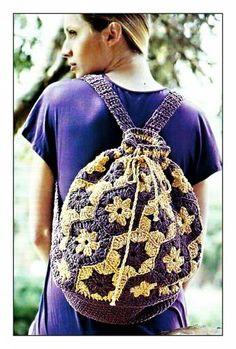 My Crochet , Mis Tejidos: Back Pack. Blog Crochet, Crochet Wool, Baby Afghan Crochet, Tapestry Crochet, Crochet Videos, Crochet Leaf Patterns, Crochet Chart, Free Crochet, Crochet Backpack