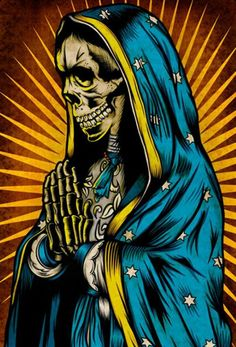 Sante Muerte By Palehorse Design Day Of The Dead Tattoo Fine Art Print Printed On Heavy Weight 100 Lb Semi Gloss Cover Stock