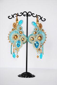 Сутажные серьги с кристалами сваровски / Soutache earrings   biser.info - всё о бисере и бисерном творчестве