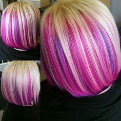 Pink and purple peekaboo with Blonde.  Hair by Amber Jacquin