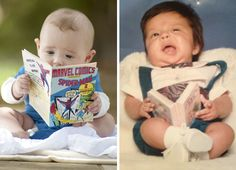 Cute Baby Reading A Book. Nailed It