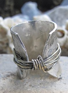 SAle!    BLISS stamped on this ring in perfect harmony!    Super-comfortable ring made from hammered reclaimed 20G silver & silver wire. Slightly flared, reclaimed sterling silver wire soldered onto the ring and than plated gently with 24K gold.    The listing is for one ring: Size 11 fits 10 to 10 and-a-half. wears best on your index or middle finger because of its length. LAst image shows the fit of a harmony ring, not the one in the listing, a smaller one size 7 that fits my finger. The…