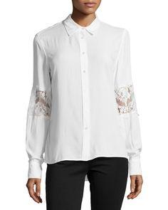Catherine Malandrino Indigo Lace Embellished Button-Front Blouse, Marshmallow