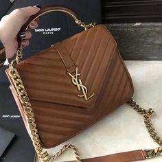 6edc6988a0420 Saint Laurent Medium Monogram College Bag in Caramel Wax Leather 2018 Ysl  Handbags