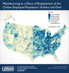 Learn more about the manufacturing employment of the population 16 and over here http://www.census.gov/newsroom/press-releases/2014/cb14-tps75.html
