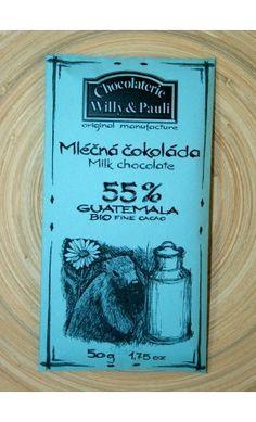 BIO Mléčná čokoláda Guatemala 55%. Využijte naší dopravy zdarma při nákupu  nad 890 Kč nebo výdejního místa v Praze zdarma. Milk, Books, Libros, Book, Book Illustrations, Libri