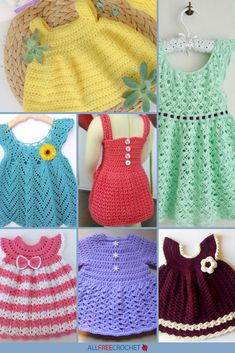 These free crochet baby dress patterns are the cutest! Find simple crochet newborn outfits, delicate lace dresses ideal for spring, and more frocks! Crochet Baby Dress Pattern, Baby Dress Patterns, Baby Clothes Patterns, Crochet Baby Clothes, Newborn Crochet, Easy Crochet Patterns, Free Crochet, Skirt Patterns, Coat Patterns