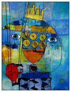 Elke Trittel acrylics,collage 30/40cm