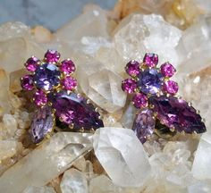 Vintage Rhinestone Flower Clip Earrings in Shades of Purple and Pink (SS)