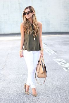 Army Green, White And Leopard Casual Business Outfit Idea by For All Things Lovely.