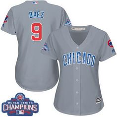 35cf689ec Women's Majestic Chicago Cubs #9 Javier Baez Authentic Grey Road 2016 World  Series Champions Cool Base MLB Jersey