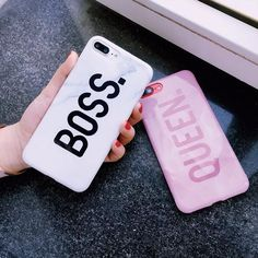 STROLLIFE Letters Queen & Boss Couples Phone Cases For iphone 7 Coque Glossy Marble Case Soft Silicon Cover For iphone Click visit to buy this product Couples Phone Cases, Couple Cases, Cute Phone Cases, Iphone Phone Cases, Iphone 6, Iphone Watch, Cell Phone Covers, Mobile Phone Cases, Coque Couple