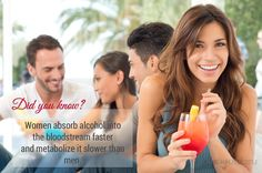 Did you know? Women absorb alcohol into the bloodstream faster and metabolize it slower than men.