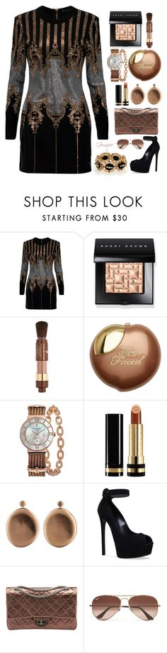 """""""Bronze"""" by gemique ❤ liked on Polyvore featuring Balmain, Bobbi Brown Cosmetics, Lancôme, Charriol, Gucci, Julie Cohn, Casadei, Chanel and Ray-Ban"""