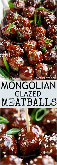 Tender Mongolian Glazed Meatballs are not only FILLED with Asian flavour -- they. - Tender Mongolian Glazed Meatballs are not only FILLED with Asian flavour — they are smothered in - Meat Recipes, Appetizer Recipes, Cooking Recipes, Asian Appetizers, Easy Cooking, Meatball Appetizers, Meatball Sandwiches, Best Party Appetizers, Best Party Food