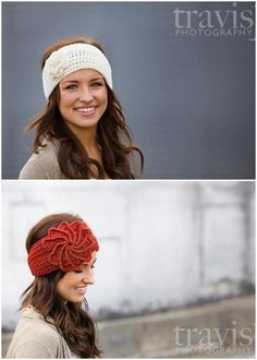 """crochet ear warmer... would love one of these in the maroon color, but with the white flower; head measures 22"""" ;)---- for Becki"""