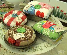 vintage cake tin pincushions