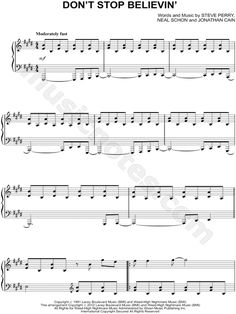 Print and download Don't Stop Believin' sheet music by Journey arranged for Piano. Instrumental Solo in E Major (transposable).